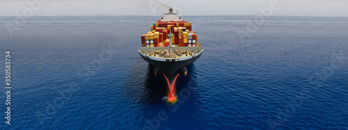 Fotografie, Obraz Aerial drone panoramic ultra wide photo of industrial container tanker ship crui