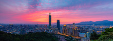 Sunset View At Taipei City In Taiwan