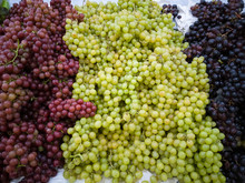 Green, Red And Purple Grape Fruit. Healthy And Natural Food.