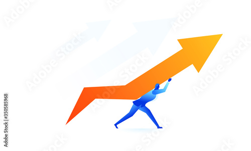 Stampa su Tela someone raised the arrow up concept illustration about hard work sales to raise