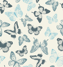 Pattern With Blue And Gray Butterflies On A Beige Background. Suitable For Curtains, Wallpaper, Fabrics, Wrapping Paper.