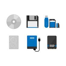 Set Of Data Storage Device, Flat Vector Illustration On White Background