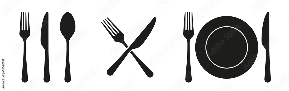 Fototapeta Fork, knife, spoon and plate set icons. Tableware set flat style. Dinnerservice collection. Plate, fork and knife for apps and websites. Dinner service - stock vector