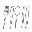 Leinwandbild Motiv Eating and kitchen tools drawn on Photoshop 2