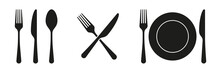 Fork, Knife, Spoon And Plate Set Icons. Tableware Set Flat Style. Dinnerservice Collection. Plate, Fork And Knife For Apps And Websites. Dinner Service - Stock Vector