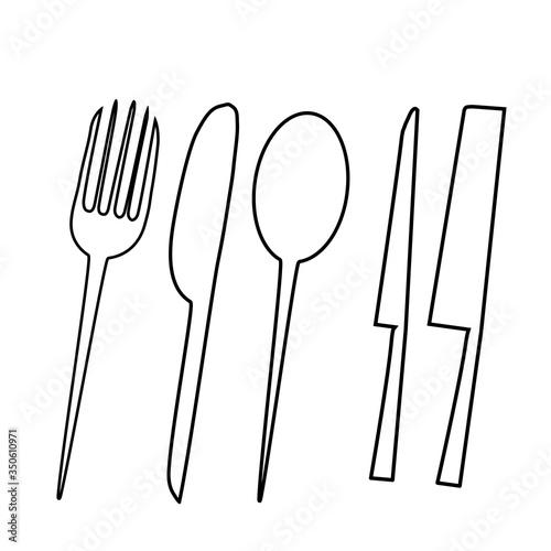 Obraz Eating and kitchen tools drawn on Photoshop 2 - fototapety do salonu