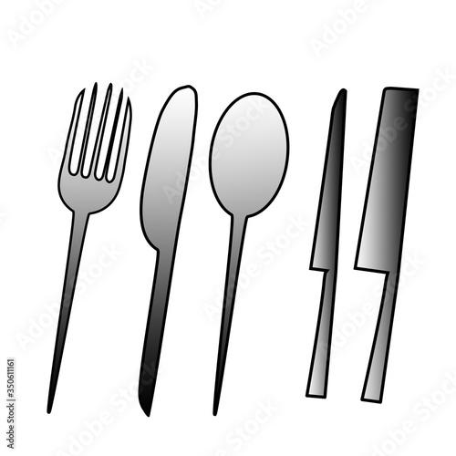Obraz Eating and kitchen tools drawn on Photoshop 1 - fototapety do salonu