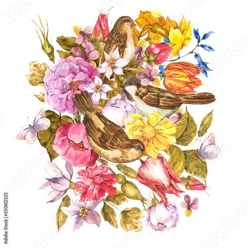 Leinwandbilder - Vintage watercolor greeting card with spring, summer flowers with birds
