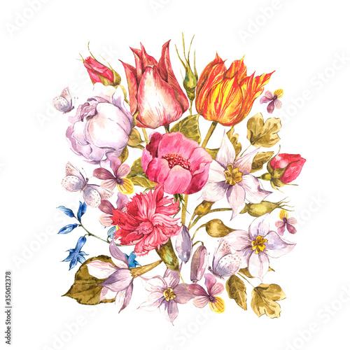 Leinwandbilder - Vintage watercolor greeting card with spring, summer flowers