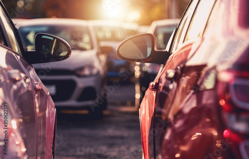Obraz Dealership Parking Lot With New Cars For Sale. - fototapety do salonu