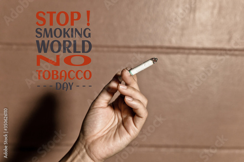 Fotografija Human refusing cigarettes concept for quitting smoking and healthy lifestyle