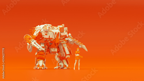 Futuristic AI Biped Tank Cyborg Mech White an Orange with Female Handler Right S Canvas Print