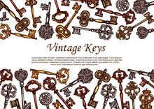 Vintage Keys Vector Sketch, Sk...