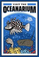 Oceanarium With Lionfish, Moray Eel, Stingray And Corals, Underwater Wild Life Show, Undersea World Zoo With Marine Ocean Sea Animals. Wildlife Aquarium Festival Event, Vector Cartoon Lion Fish