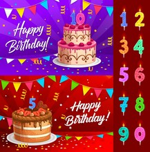 Birthday Cake With Numbered Candles Greeting Card Vector Template. Anniversary Party Chocolate Dessert With Festive Serpentine Streamers And Confetti, Colorful Flags And Bunting, Birthday Celebration