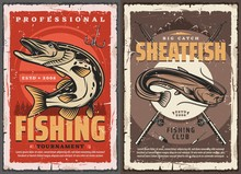 Pike And Sheatfish Fishing Retro Posters. Club Tournament With Luce, Catfish Fish, Fisherman Equipment And Tackles. Pike Fish And Fishing Hook. Sport Competition Outdoor Activity Grunge Vector Card