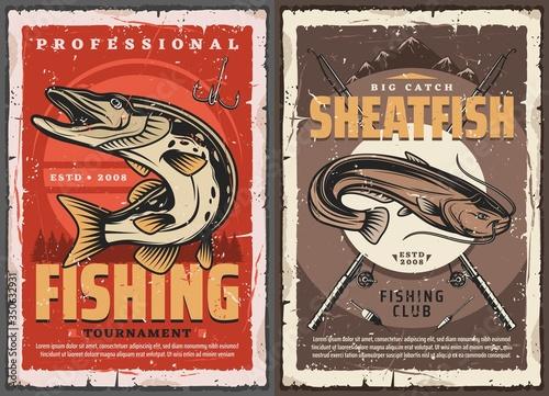 Fotomural Pike and sheatfish fishing retro posters