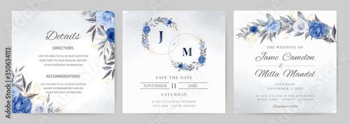 Fototapeta Navy blue wedding invitation set