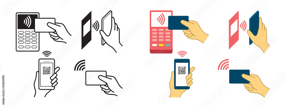 Fototapeta Contactless Payment Concept, Wireless, Symbols, Hand Holding Credit Card, Smart Card, Smart Watch, Smartphone, Scanning QR Code