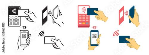 Contactless Payment Concept, Wireless, Symbols, Hand Holding Credit Card, Smart Tapéta, Fotótapéta