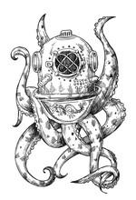 Octopus In A Old Diving Helmet...