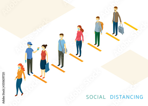 Social Distancing, People in a Row or Line, Prevention of Coronavirus Covid-19