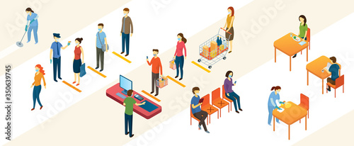 Foto New Normal, People in Social Distancing and Contactless Payment, Shopping Mall a