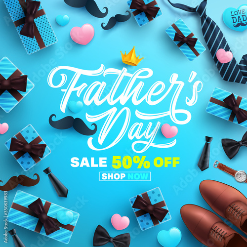 Obraz Father's Day Sale poster or banner template with necktie,glasses and gift box on blue background.Greetings and presents for Father's Day in flat lay styling.Promotion and shopping template for dad - fototapety do salonu