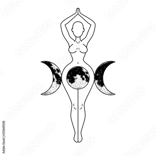 Fototapeta Triple Goddess, beautiful woman figure respresenting moon cycles, Wiccan traditional symbol