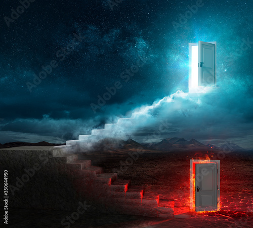 Stairs For Heaven And Hell - Religious Choice - Contain 3d Rendering Tableau sur Toile
