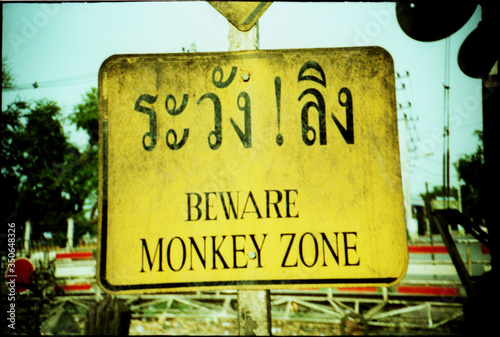 Close-up Of Beware Monkey Sign Canvas Print