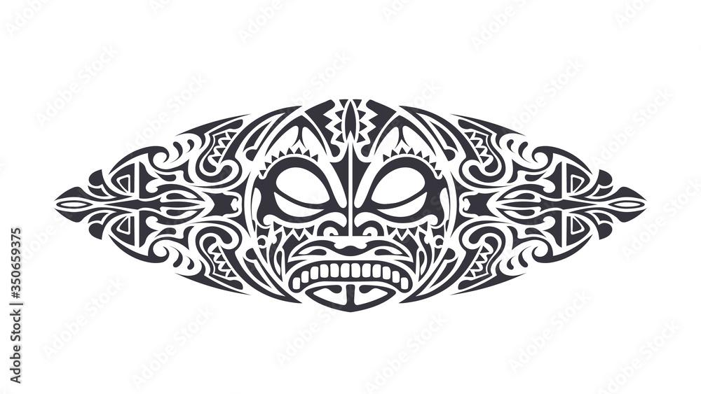Fototapeta Polynesian style Tattoo design. Polynesian style mask. Isolated round tattoo vector.