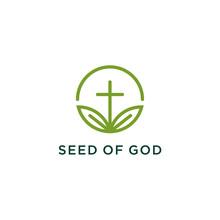 Church Cross And Seed Leaf Logo Design Creative Idea