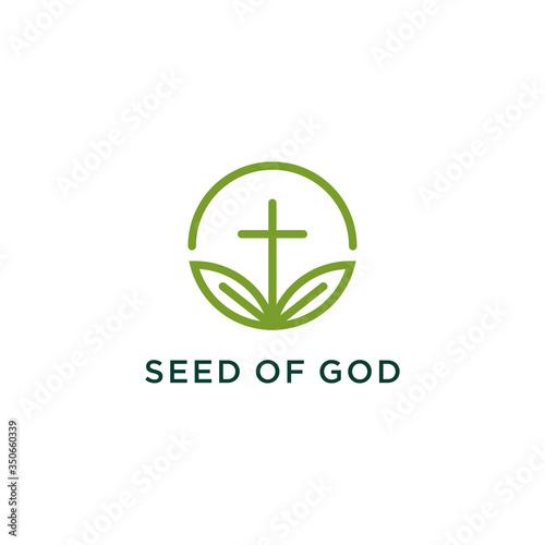 Fotografie, Tablou church cross and seed leaf logo design creative idea