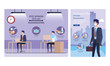 set banners of campaign distancing social and recommendations at office vector illustration design