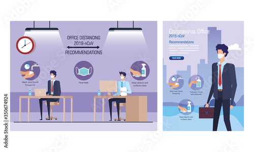 Obraz set banners of campaign distancing social and recommendations at office vector illustration design - fototapety do salonu