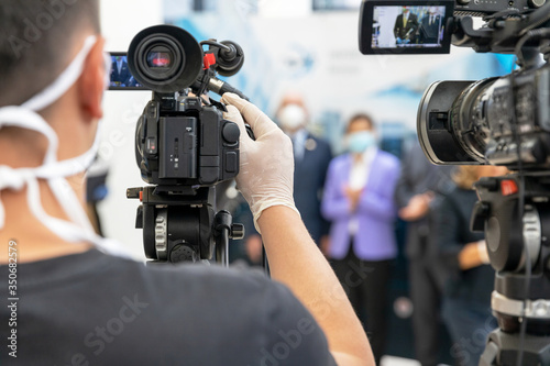 Foto Press or news conference during coronavirus COVID-19 pandemic