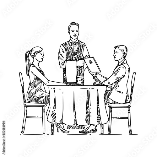 Man and woman sitting ata table in restaurant and waiter Canvas Print