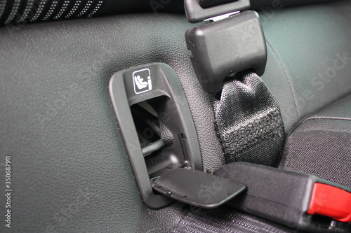 Leinwand Poster ISOFIX standard in car for children seats with seat belt