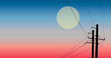 Silhouette Power Line  Vector