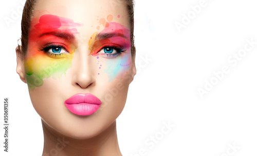Fotografia, Obraz Beautiful model girl with colorful make-up