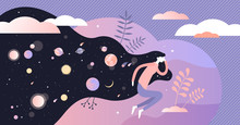 Dreams Vector Illustration. Abstract Night Deep Sleep Tiny Persons Concept.