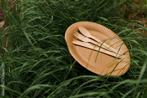Photo Eco-friendly natural plate with spoon, fork, knife