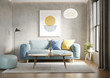 Leinwandbild Motiv 3d render of a room with a light blue sofa an art canvas and blue and yellow cushions