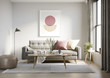 Leinwanddruck Bild - 3d render of a grungy concrete room with a grey sofa an art canvas and dusky pink and yellow cushions