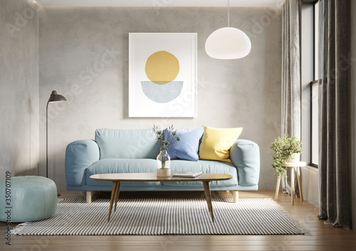 3d render of a room with a light blue sofa an art canvas and blue and yellow cus Tableau sur Toile