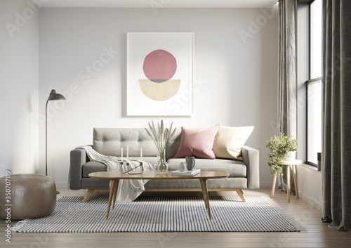 Obraz 3d render of a grungy concrete room with a grey sofa an art canvas and dusky pink and yellow cushions	  - fototapety do salonu