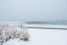 Ocean Waves On Snowy Covered B...
