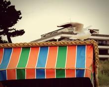 Black-headed Gull On Hooded Beach Chair Against Sky
