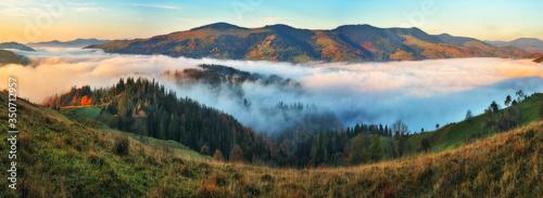 Obraz foggy morning in the mountains. Autumn sunrise in the Carpathians - fototapety do salonu